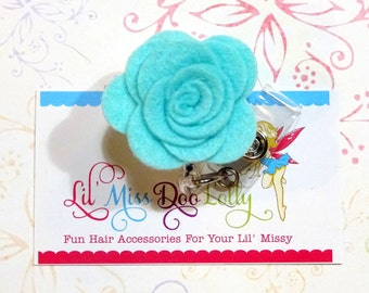 Flower Badge Reel-Hand Rolled Wool Felt Flower- Felt Retractable Nursing ID Badge Holder-Medical Badge Reel-Aqua (Set of 1)