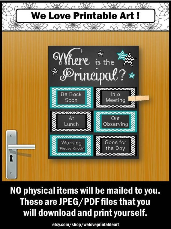 Gift for School Principal Office Door Sign Where is the