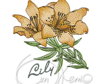 MACHINE EMBROIDERY DESIGN - Lily flower embroidery, Lily embroidery