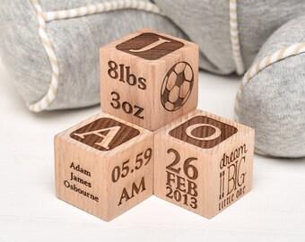 New Baby Gift, NewBorn Baby Gift, Personalised Christening Gift, Wooden Building Blocks