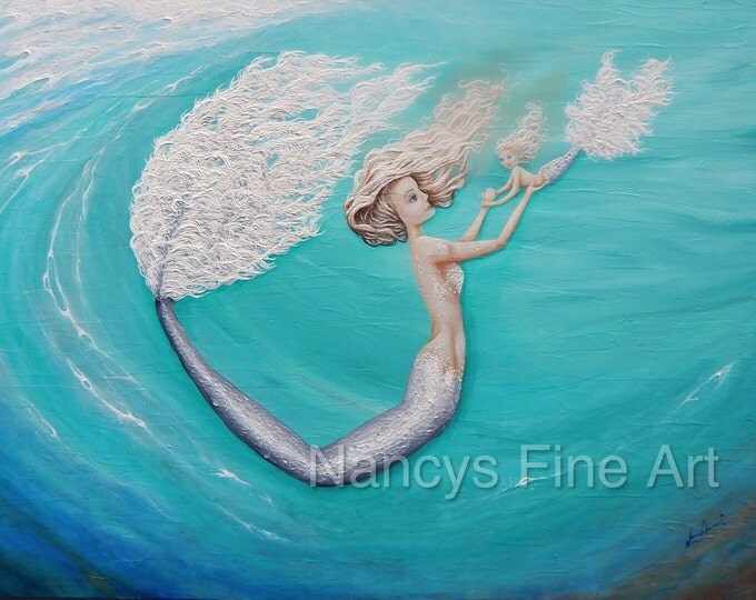 Unique little mermaid wall art, Mother daugter mermaid art, aquamarine mermaid painting. Original painting by Nancy Quiaoit