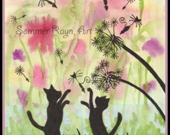 Item 0466, Dandelion Summer Fun, Invitation, Card, Picnic,  Cats, watercolor print or card, Shadow Kitties