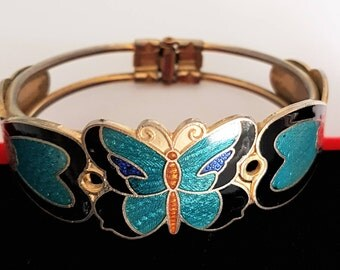 Vintage bangle, butterfly bangle, 1970s gold bangle, turquoise bangle, hinged bangle, butterfly bracelet, turquoise bracelet, hinged bangle