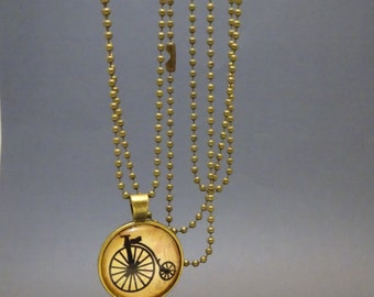Bicylce Pendant Necklace, Steampunk Glass Round Pendant, Steam punk Pennyfarthing Bike Glass Cameo on Ball Chain, Penny farthing, 2003