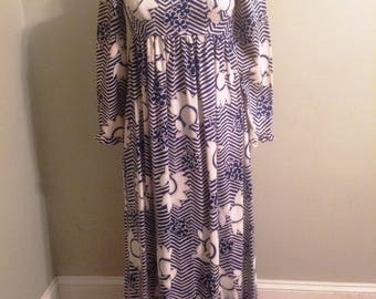1970s Navy White Floral Cotton Maxi Dress Size S Marshall Field's