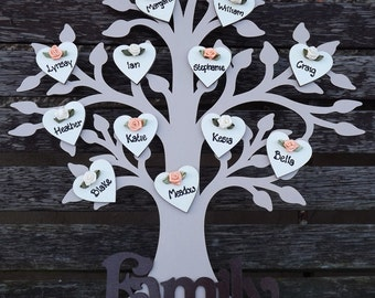WOODEN 'FAMILY' TREE - handcrafted and personalised with up to 25 names (40cm tall)