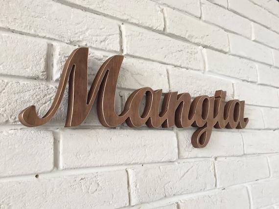 Wooden Kitchen Wall Decor : Italian kitchen wall art mangia wooden sign script