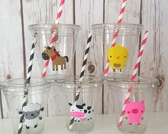 12 Farm Animal Party Cups, Farm Party Cups, Animal Birthday Party, Animal Decorations, Farm Cups, Barnyard, Farm Birthday, Old MacDonald