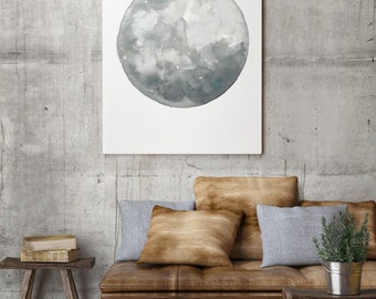 Full Moon Watercolor Painting, Abstract Minimalist Moon Drawing Home Illustration, Space Art Print Solar System Silver Blue Gray Wall Decor