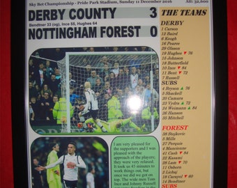 Derby County 3 Nottingham Forest 0 - 2016 - souvenir print