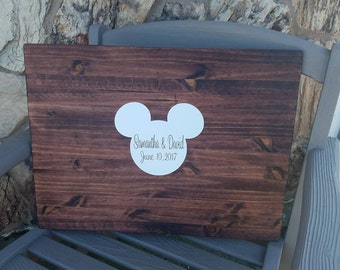 Disney Wedding Guest Book Wood Sign, Wedding Decoration, Guest Book Alternative