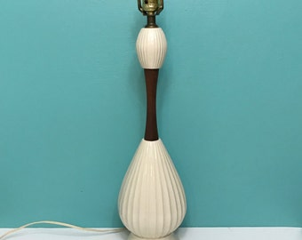 Vintage Mid-Century Ceramic and Wood Table Lamp Off-White Color