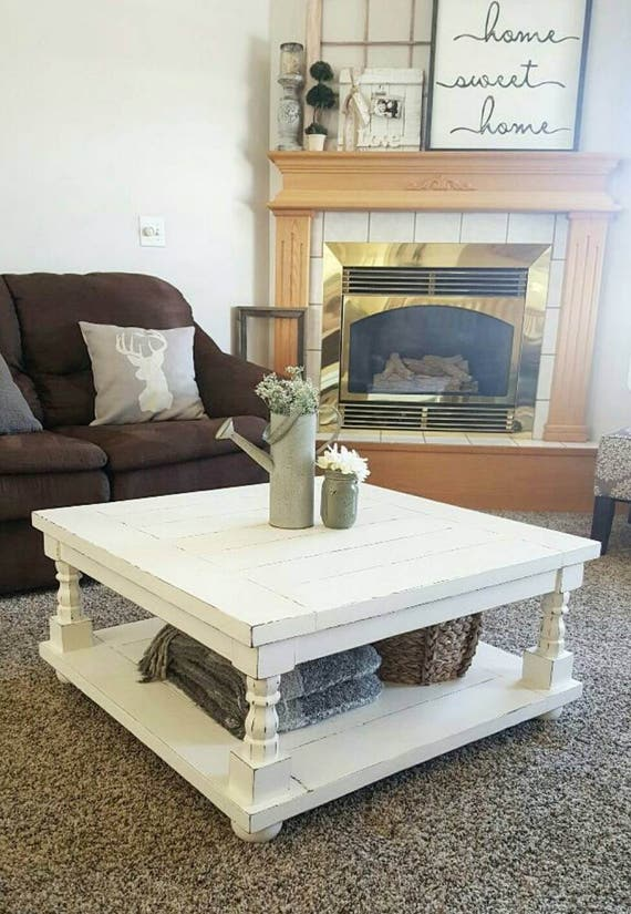 Local Pickup Only - Square Coffee Table - Cottage Coffee Table - Square Coffee Table - Coffee table with statement legs - Wood Coffee table