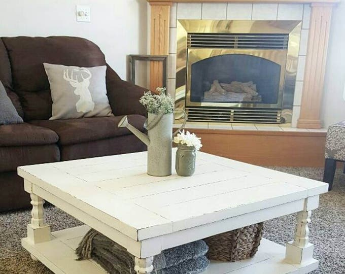 Square Coffee Table - Cottage Coffee Table - Square Coffee Table - Coffee table with statement legs - Wood Coffee table
