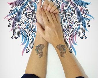 Set of 2 - Wings Temporary Tattoo / Bird Wings Temporary Tattoo / Animal Art Temporary Tattoo / Bird Wings Fashion /Body Sticker