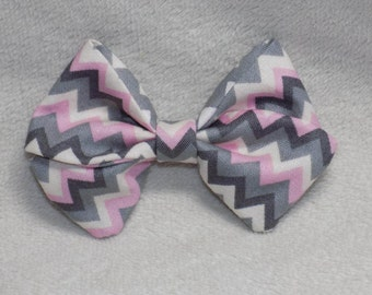 "Grey Chevron ""Madi"" Bow"