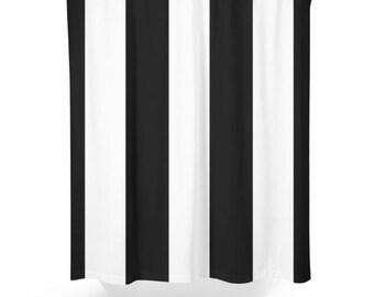 Black White Shower Curtain,  bathroom Decor, ,  Minimalist Stripes
