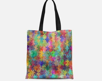 Autism Awareness Tote, Puzzle Piece Tote Bag, ASD Tote Bag, 3 sizes available