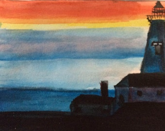 Lighthouse Water Color blank greeting card