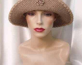 Taupe Straw Cloche Hat, 1920s Cloche Hat, Downton Abbey and Phryne Fisher Inspired Hat, Straw Summer Hat
