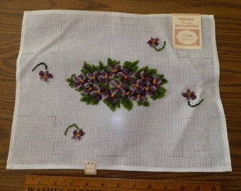 Vintage Violets Preworked Needlepoint Canvas Brick Madeira
