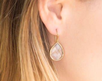 Clear Quartz Pear Shape Earrings - 14 Karat Gold Plated Sterling Silver