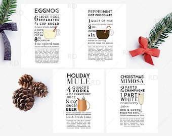 HOLIDAY Cocktails with Recipes - PRINTABLE Wall Art / Holiday Drinks Recipes Wall Art / 4 Mixed Drinks Printables / Holiday Drink Recipes