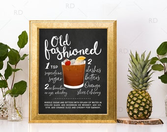 Old Fashioned Chalkboard Cocktail with Recipe - PRINTABLE Wall Art / Cocktails Mixed Drinks Wall Art / Hand Drawn Cocktails / Cocktail Print
