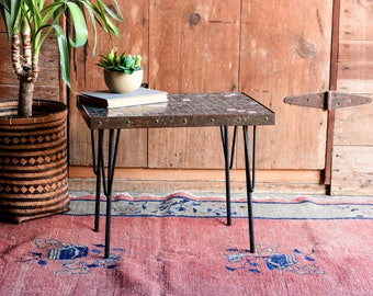 Mid Century Mosaic Side Table, Mid Century Plant Stand, Mid Century Modern End Table, Urban Style End Table, Minimalist Nightstand,