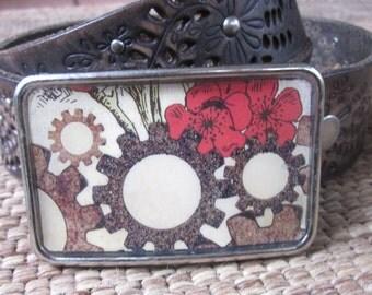 belt buckle mens belt buckle unisex women's belt buckle gears yellow  red poppy flowers rustic resin buckle steampunk  belt buckle