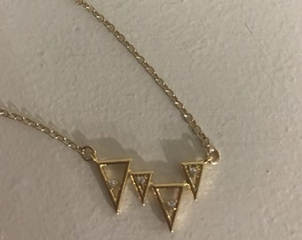 Triangle cz necklace, minimalist,gold