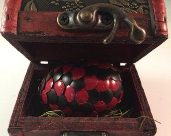 Dragon Egg with Box - Dragon Egg with Chest - Dragon Egg Decor - GoT Dragon Egg - RED & BLACK - Regal Style Box