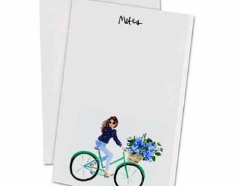 Hydrangea Bike Girl Notepad