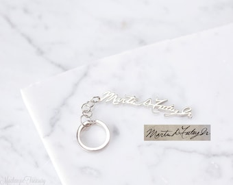 Personalized handwriting keychain - signature keychain - personalized keychain - name keychain - custom keychain - men gift - father gift