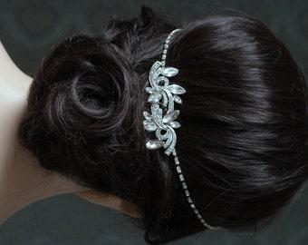1920s Wedding Headpiece  - Vintage Bridal Headpiece -Crystal Comb and Chain  Bun Accessory - 1920s Wedding dress