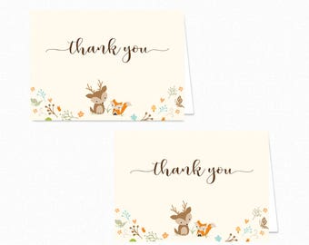 Printable Woodland Thank You Card - Printable Instant Download - Woodland Baby Shower Thank You Card - Woodland Thank You Card