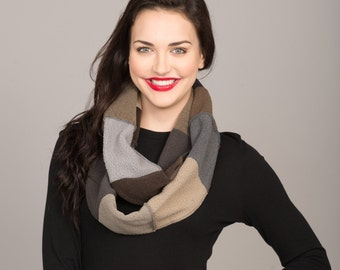 Cameleon Multi Mix Fleece Patchwork Infinity Scarf   Charcoal Heather Gray Taupe Gunmetal Graphite   Minnesota Made   Free Shipping!