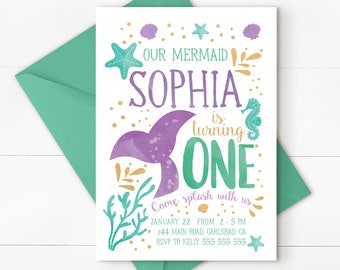 Mermaid birthday invitation, mermaid party, mermaid 1st birthday, mermaid birthday, under the sea, mermaid invitation