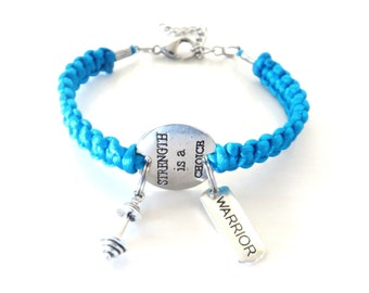 Strength is a Choice Warrior Workout Weight Lifting Bodybuilding Barbell Charm Bracelet You Choose Your Cord Color(s)