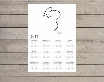 "Pablo Picasso ""Mouse"" Print on paper or canvas 2017 Wall Calendar - Dorm Room Calendar - Bedroom Calendar"