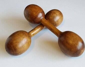 Wooden Dumbbells. Wood Weights. Rustic.