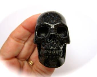 Blue Goldstone Sun Sitara Carved Crystal Skull 50mm 87g