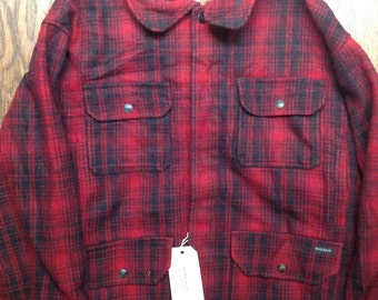 "Vintage Woolrich red black wool hunting jacket checked buffalo plaid rockabilly  56"" chest XXL"
