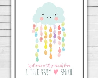 Rain cloud Baby shower guestbook thumbprint guest book baby shower fingerprint Raindrops Rainbow Baby Sprinkle guestbook PRINTABLE rcl
