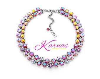 HEY DOLL 8mm Xirius & Rivoli Cut Crystals 2 Row Statement Choker Swarovski Elements *Pick Your Finish *Karnas Design Studio *Free Shipping*
