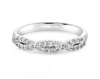 Twisted Diamond Half Band Eternity Ring
