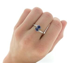 Twin Sapphire Diamond Engagement Ring