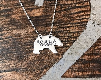 Mama Bear Necklace Mothers Day gift Momma bear necklace personalized established year Silver mama necklace bear necklace mom gift mama gift