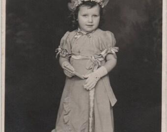 Little bridesmaid, flower headband, Art Deco dress, real photo girl, Art Deco fashion, girl photo, vernacular, social history (rppc/ch278)