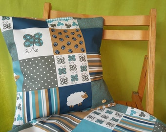 2 set of pillow covers in Blau patchwork look